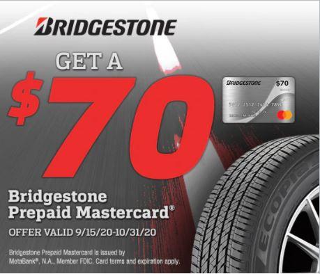 Get A $70 Bridgestone Prepaid Mastercard