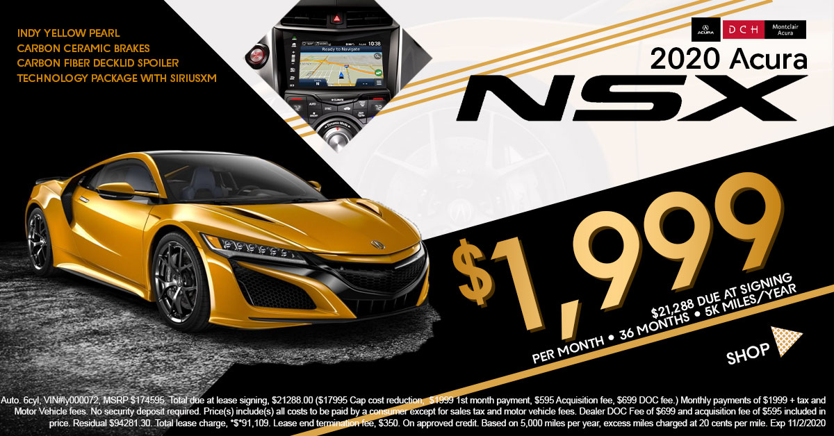 2020 Acura NSX Lease for $1,999 per Month
