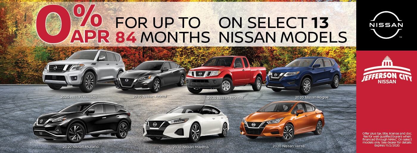Get 0% APR for up to 84 Mos on select Nissan Models | Jefferson City, MO