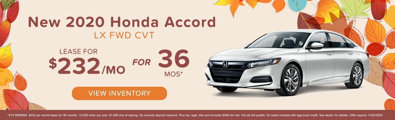 New 2020 Honda Accord LX