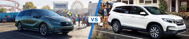 2021 Honda Odyssey Minivan versus the 2021 Honda Pilot SUV