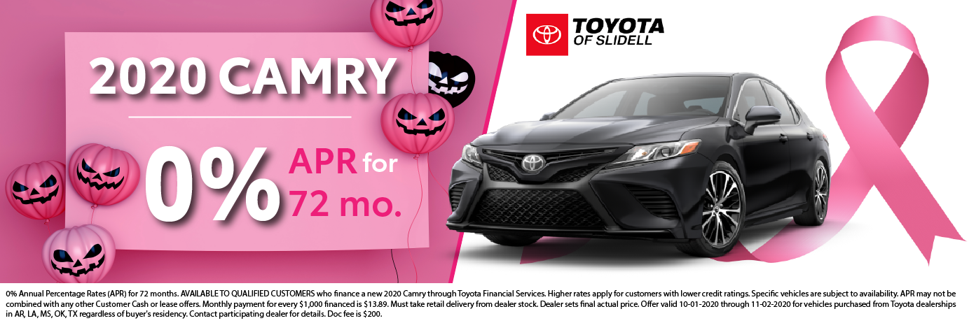 2020 Toyota Camry 0% APR for 72 months