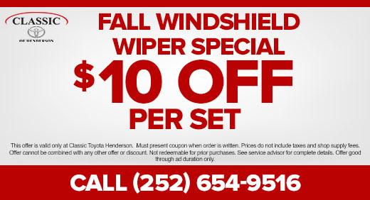 Fall Windshield Wiper Special