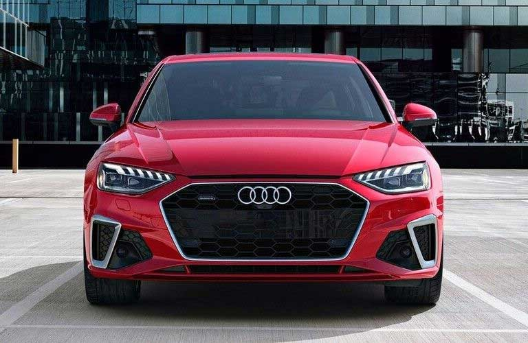 Front angle of a red 2021 Audi A4
