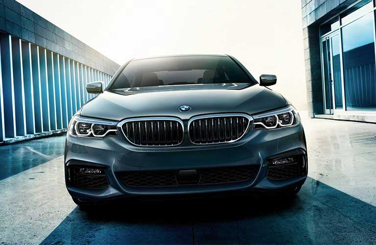 Front angle of a grey 2019 BMW 5 Series