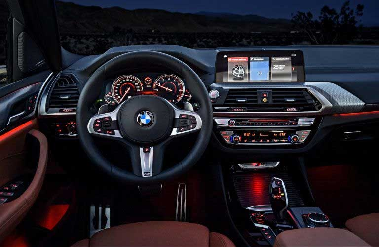 BMW X3 dashboard and steering wheel