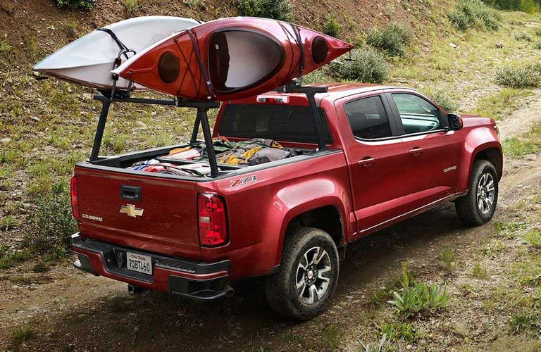 Chevy Colorado hauling two canoes