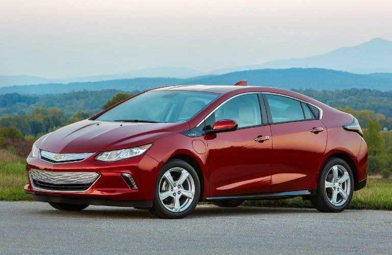 Front driver angle of a red 2019 Chevy Volt