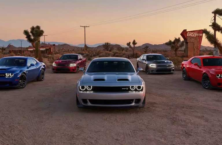 Five Dodge Challenger cars parked next to each other