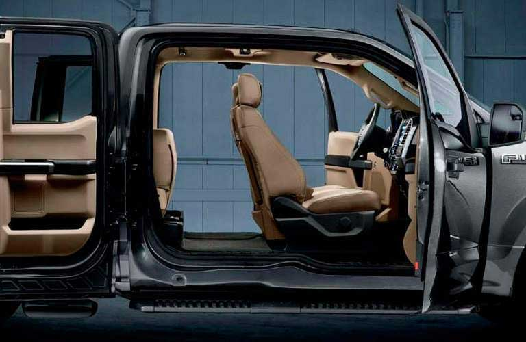 Interior cutaway of the 2017 Ford F-150 super cab with all four doors open