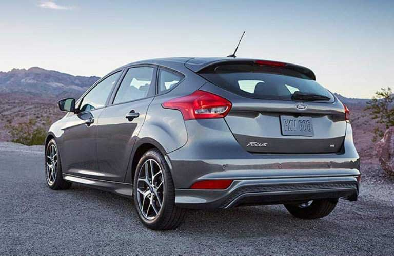 Rear of the 2016 Ford Focus hatchback in a desert