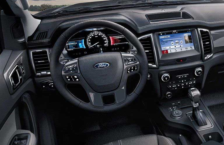 2019 Ford Ranger steering wheel and dashboard features