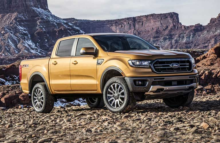 2019 Ford Ranger parked showing side profile