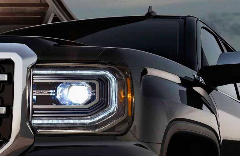 2017 GMC Sierra 1500 headlight closeup