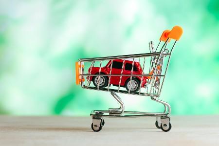 Toy car inside of a mini shopping cart