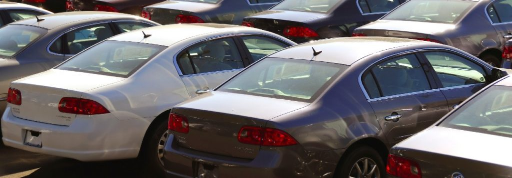 Cars in a car dealership lot
