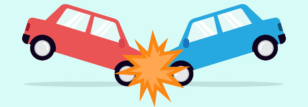 Graphic showing two cars in a front-end collision on a blue background