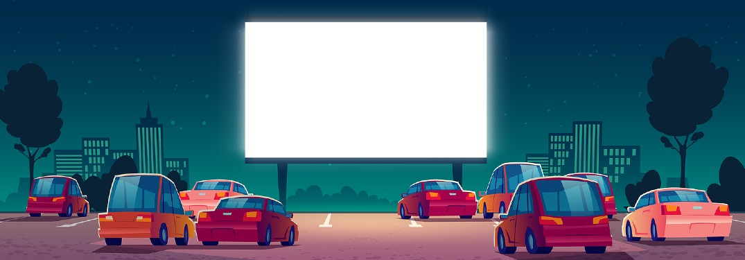 Graphic showing cars parked at a drive-in movie theater
