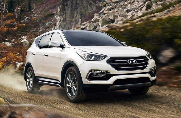 Hyundai Santa Fe driving on an off-road trail