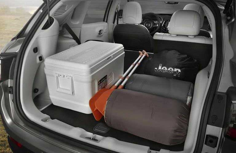 Jeep Compass rear cargo area filled with items