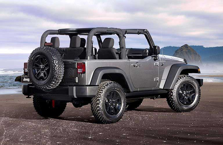 Rear Quarter Profile of the 2017 Jeep Wrangler with the top open