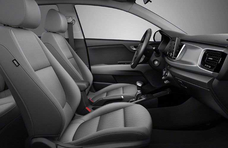 Passenger angle of the front row seats in the 2020 Kia Rio 5-Door