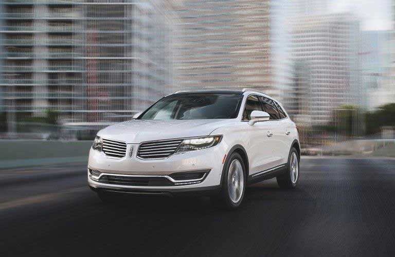 Front driver angle of a white 2017 Lincoln MKX
