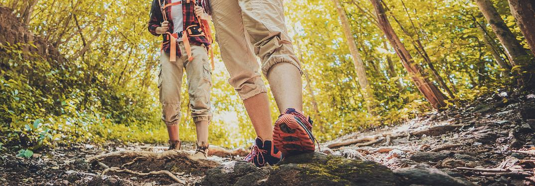 Couple hiking on a trail in a forest data-verified=
