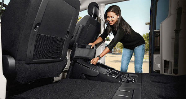 Dodge Grand Caravan Stow 'n Go seating system in action