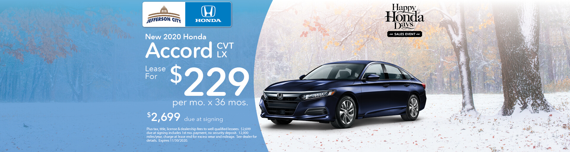 2020 Accord LX | Lease for $229/mo x 36 Mos. | Jefferson City, MO