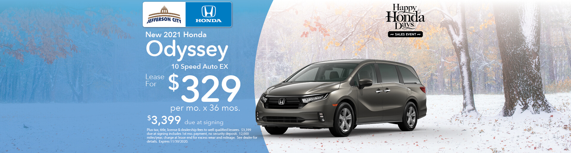 2020 Odyssey EX | Lease for $330/mo x 36 Mos. | Jefferson City, MO
