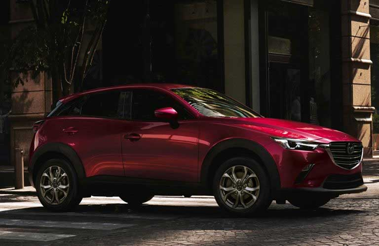 Front passenger angle of a red 2019 Mazda CX-3