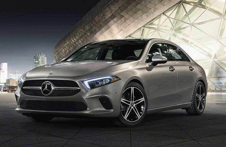 Front driver angle of a grey 2020 Mercedes-Benz A-Class
