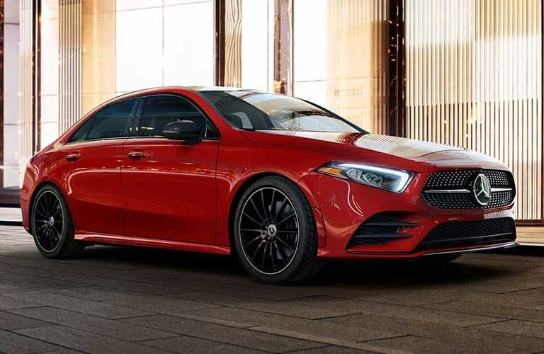 Front passenger angle of a red 2020 Mercedes-Benz A-Class