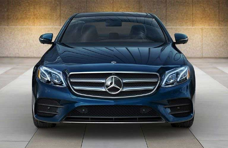 Front angle of a blue 2020 Mercedes-Benz E-Class