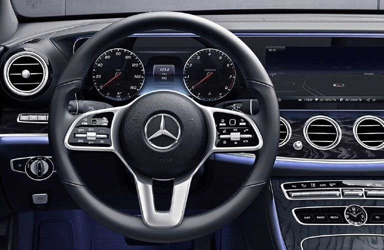 Close up of the steering wheel inside the 2020 Mercedes-Benz E-Class