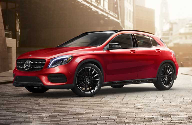 Front driver angle of a red 2020 Mercedes-Benz GLA