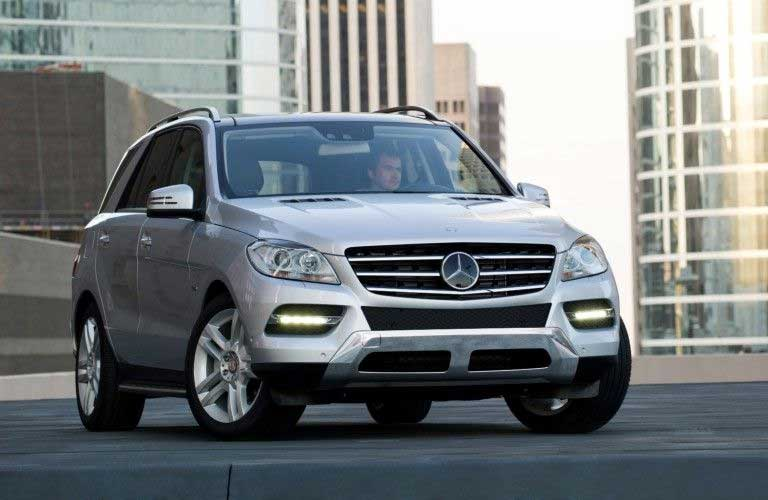 Front passenger angle of a silver 2012 Mercedes-Benz M-Class