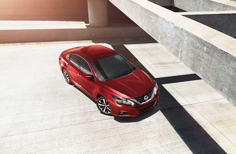Overhead view of the 2017 Nissan Altima parked by concrete beams