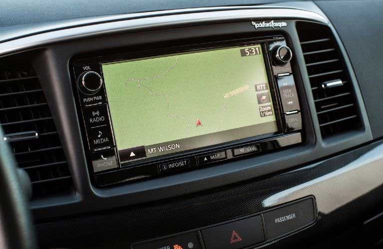 Close up of the touchscreen display inside the 2016 Mitsubishi Lancer