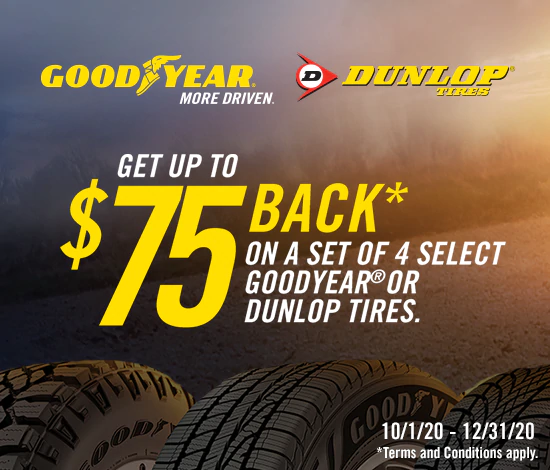 Goodyear or Dunlop Tires - Up to $75 Rebate