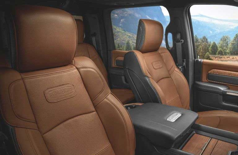 Close up of the front row seats inside the 2020 RAM 3500