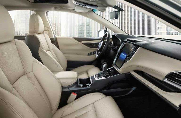 Passenger angle of the front row seats in the 2020 Subaru Legacy