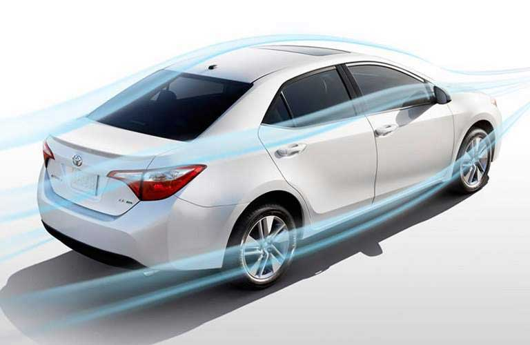 Rear passengers side profile on the 2014 Toyota Corolla with blue lines showing aerodynamic design