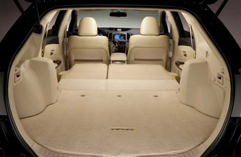 Rear angle of the cabin of the 2015 Toyota Venza with the rear seats folded
