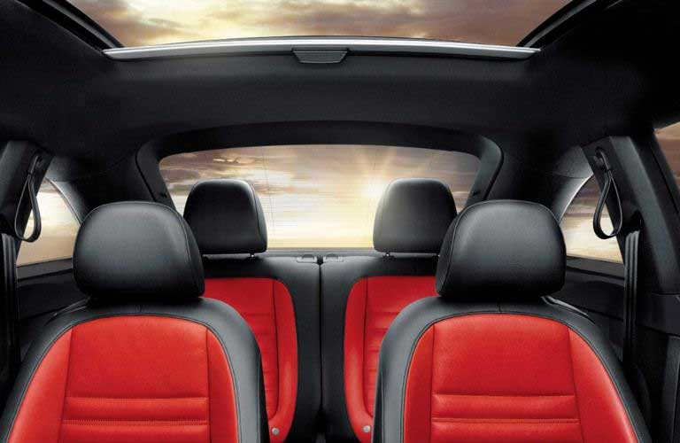 Interior passenger area of the 2017 Volkswagen Beetle from the front