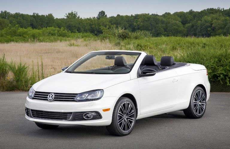 Front driver angle of a white 2015 Volkswagen Eos convertible