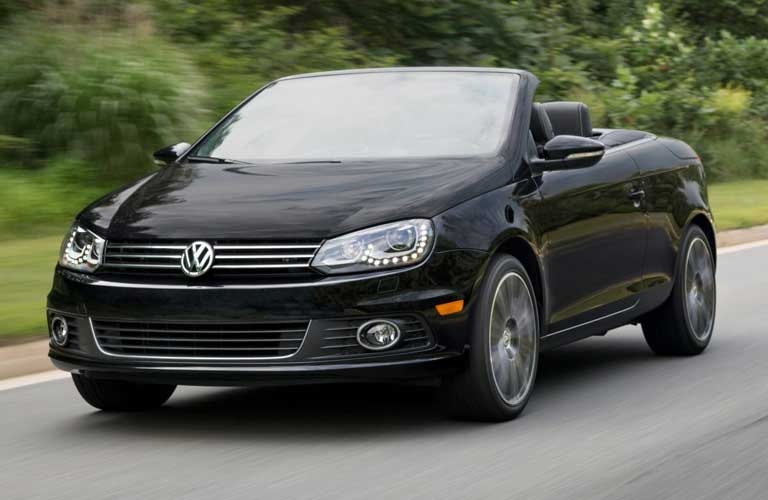 Front driver angle of a black 2015 Volkswagen Eos