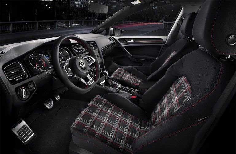 Front interior in the 2019 Volkswagen Golf GTI