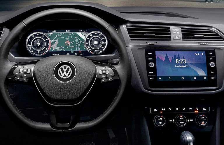 Volkswagen Tiguan dashboard features and steering wheel